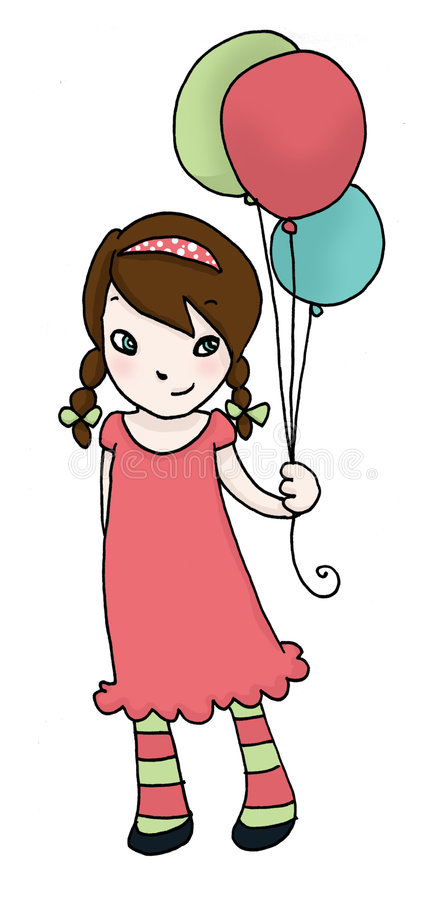 Download Little girl with balloons stock illustration. Image of children - 9080399