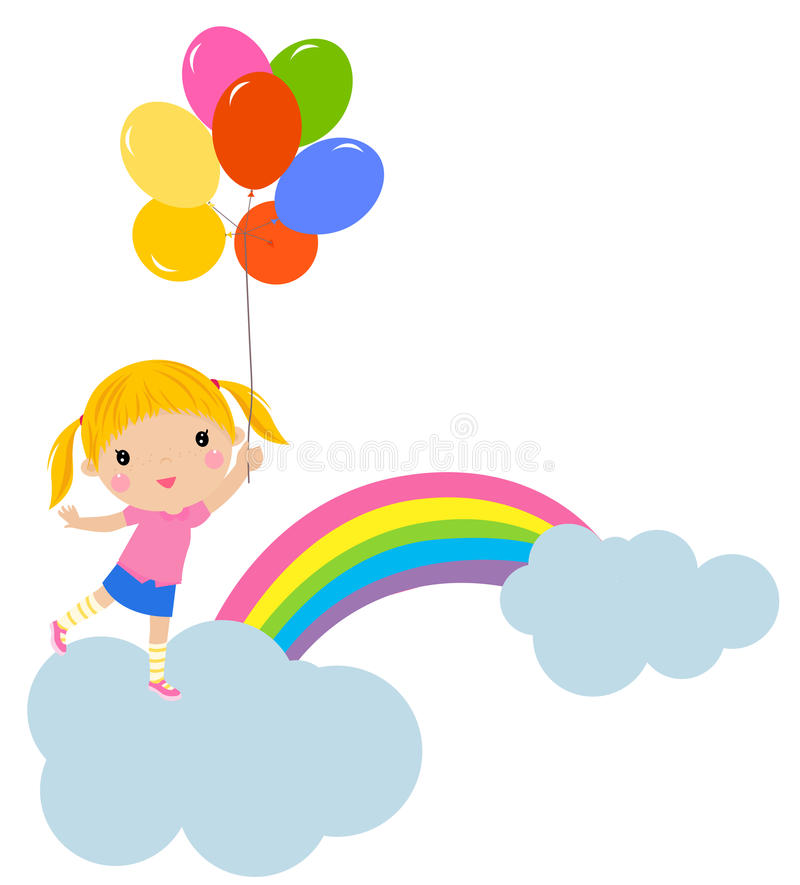 Little girl with balloons stock illustration