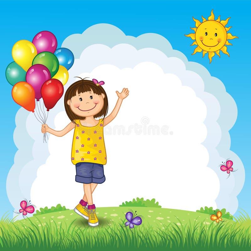 Little Girl With Balloons On Landscape vector illustration