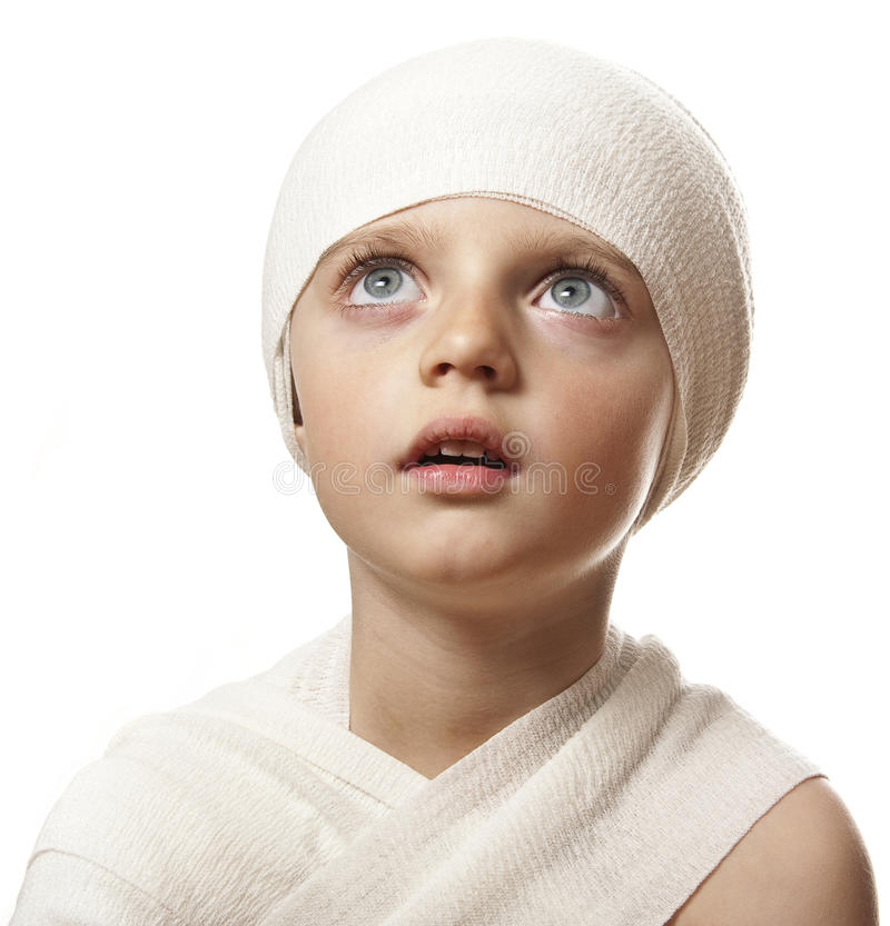 A little girl with a bandage royalty free stock images