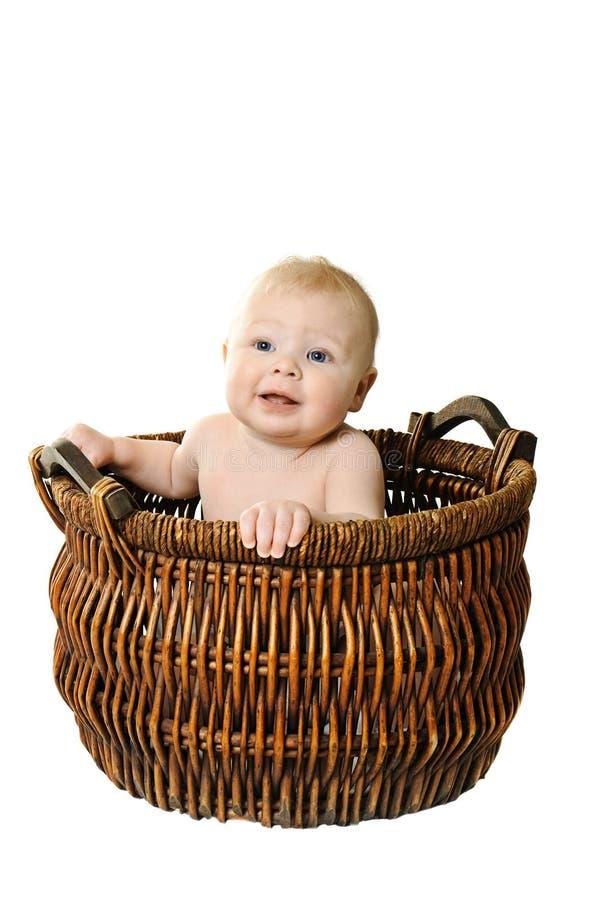 Download Little girl in the basket stock image. Image of basket - 18476277