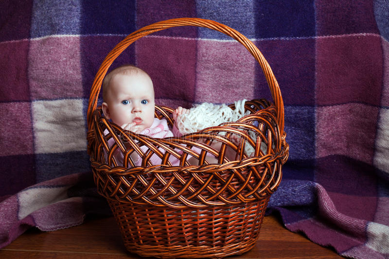 Little girl in the basket royalty free stock photo
