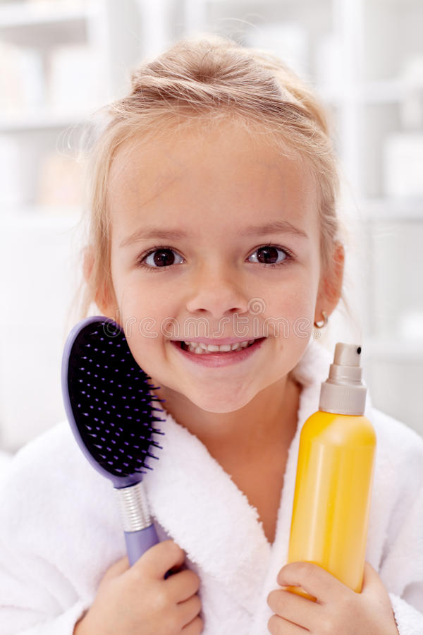 Download Little girl after bath stock photo. Image of hygiene - 22139786