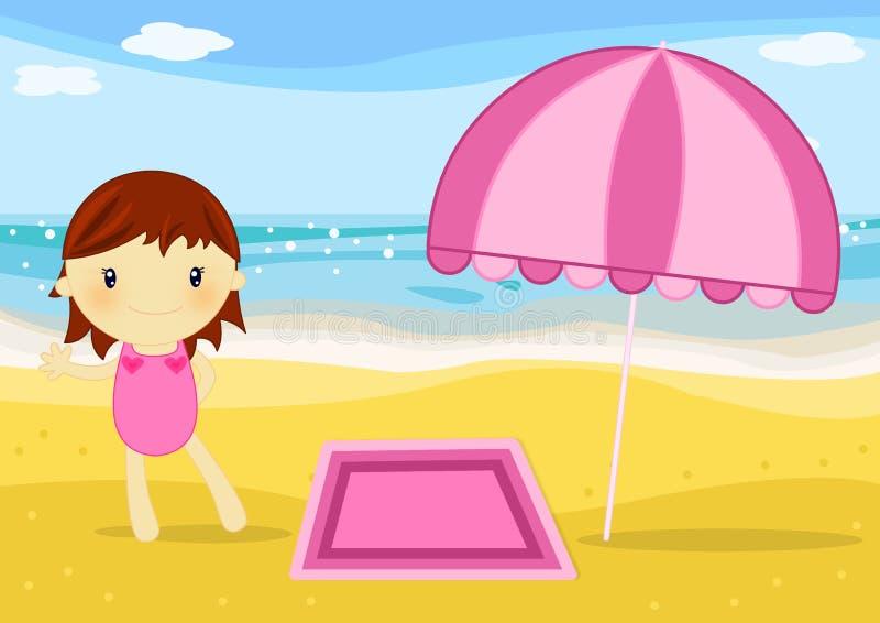 Download Little girl on the beach stock illustration. Image of seaside - 15833148