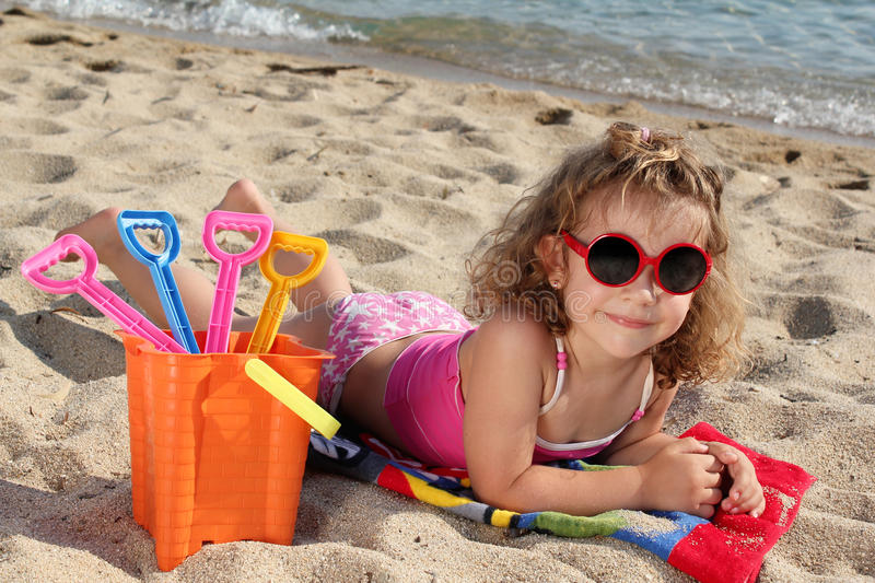Download Little girl on the beach stock image. Image of adorable - 23524943