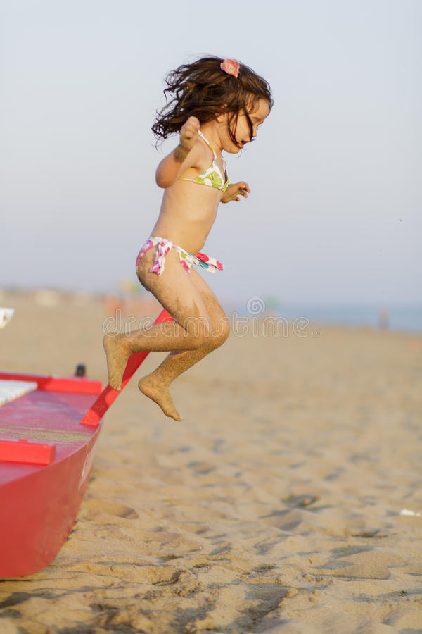 Download Little girl on the beach stock image. Image of beautiful - 33426093