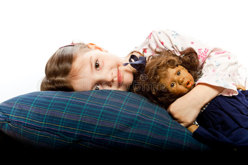 Little girl in bed royalty free stock images