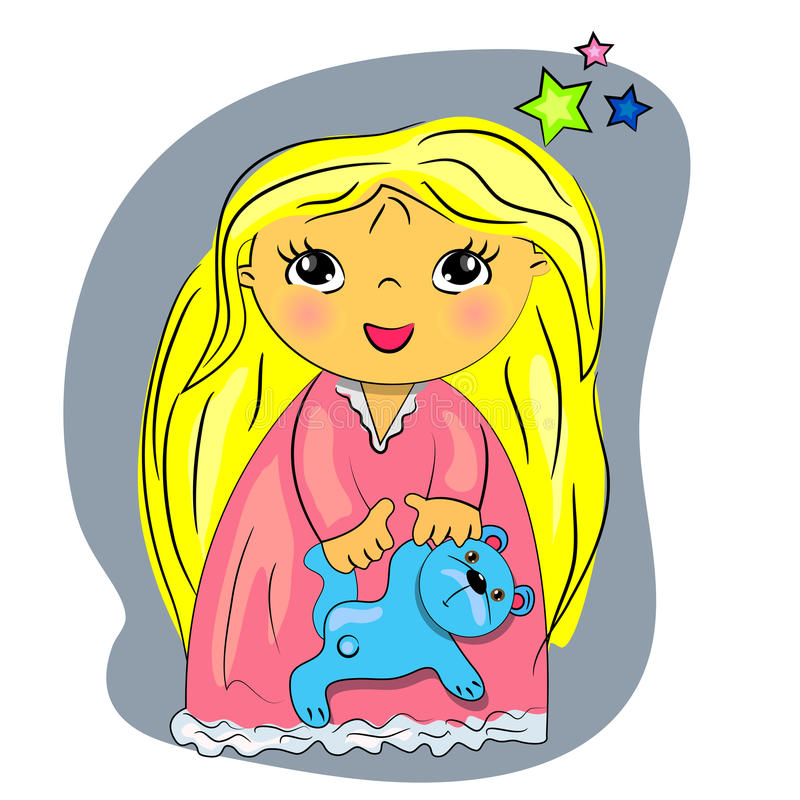 Download Little Girl Bed Time. Cartoon Child Playing With T Stock Vector - Image: 25873837