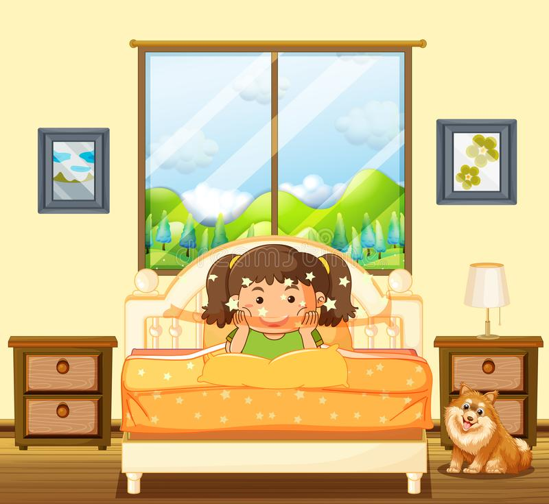 Little girl in bedroom with pet dog royalty free illustration