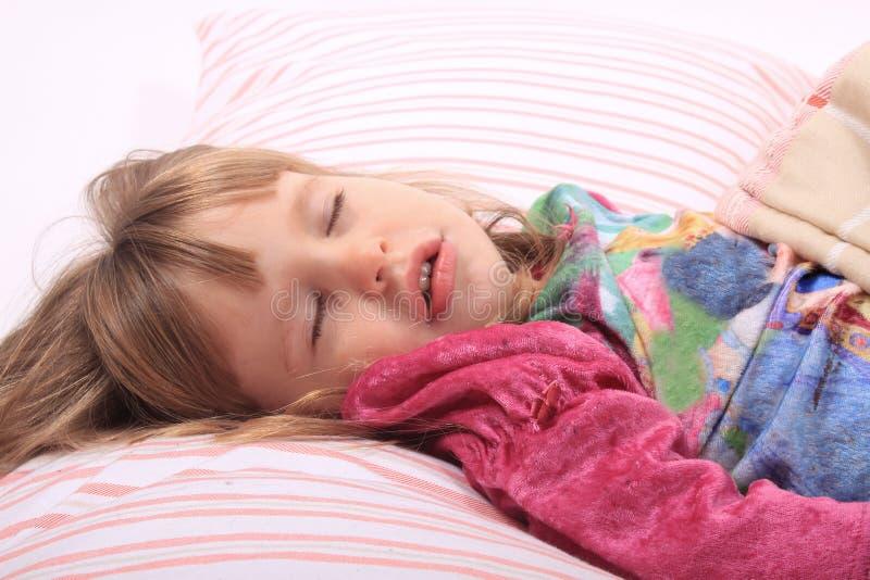 Little girl bedtime stock photo