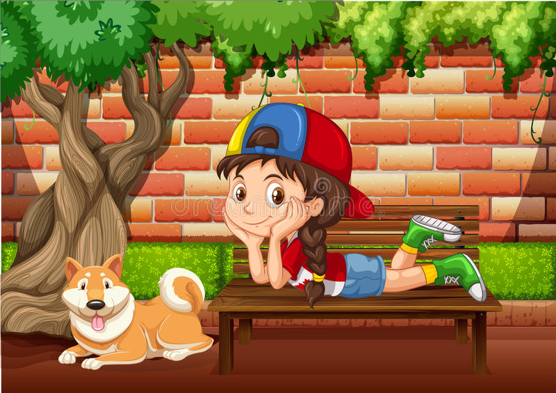 Little girl on the bench vector illustration