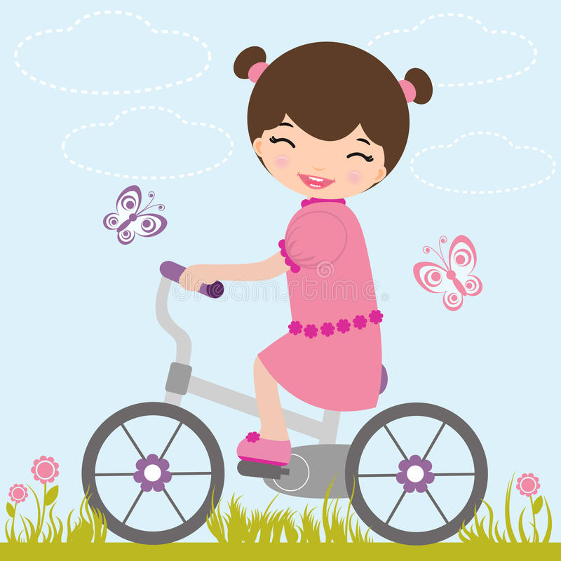 Little girl on a bicycle stock illustration