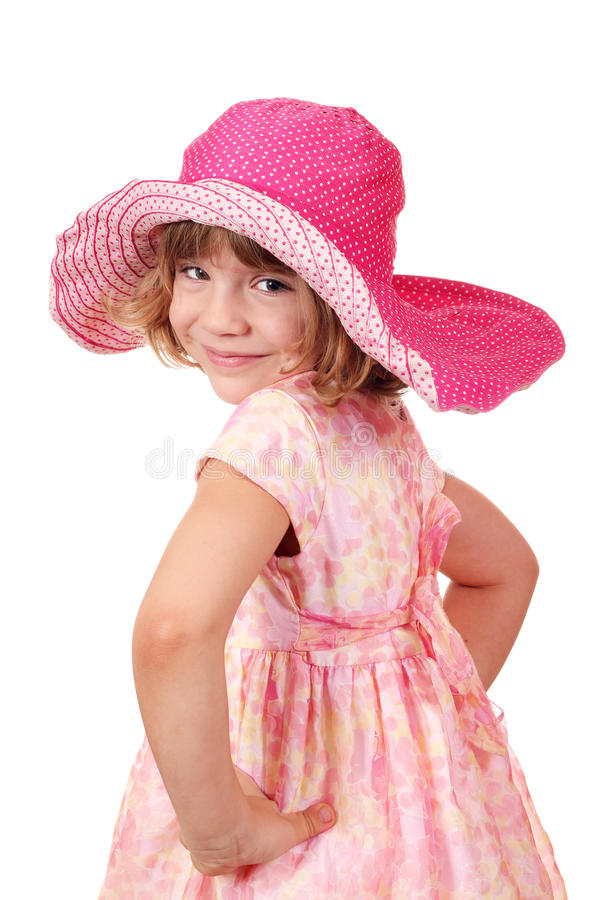 Download Little girl with big hat stock photo. Image of happy - 26818458