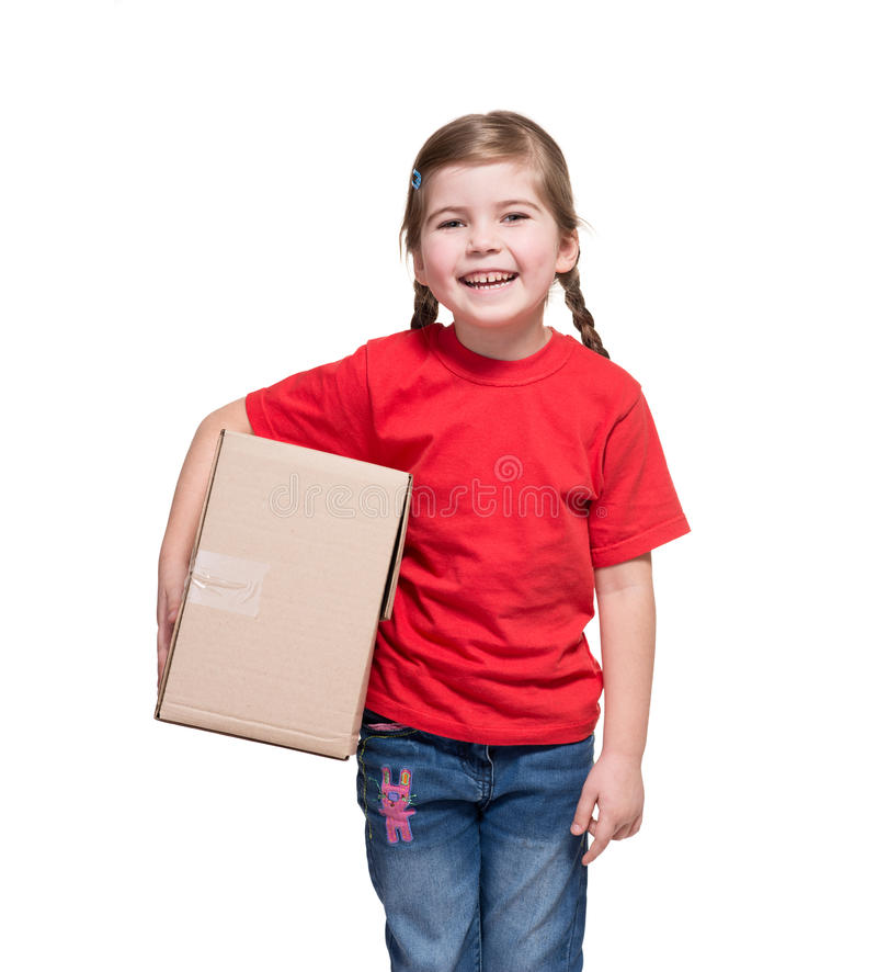 Download Little Girl With Big Parcel Box Stock Image - Image of little, t: 29489481