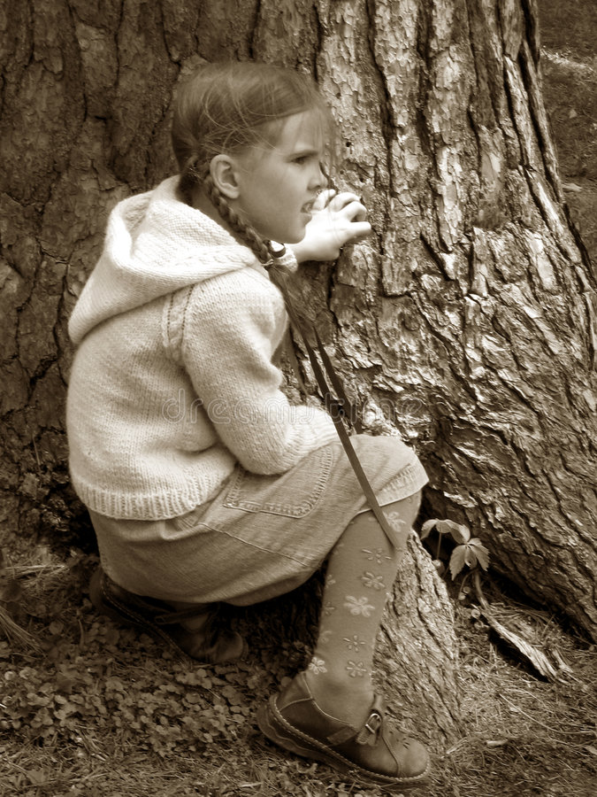 Little Girl - Big Tree royalty free stock photos