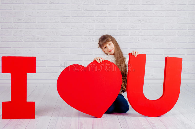 Download Little Girl With A Big Word I Love You Stock Image Image Of Face