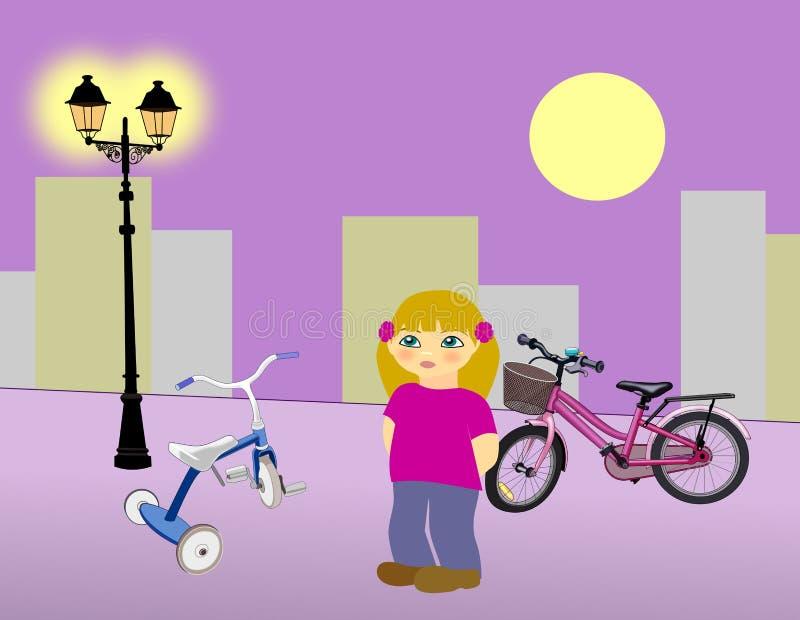 Little Girl with Bikes stock illustration