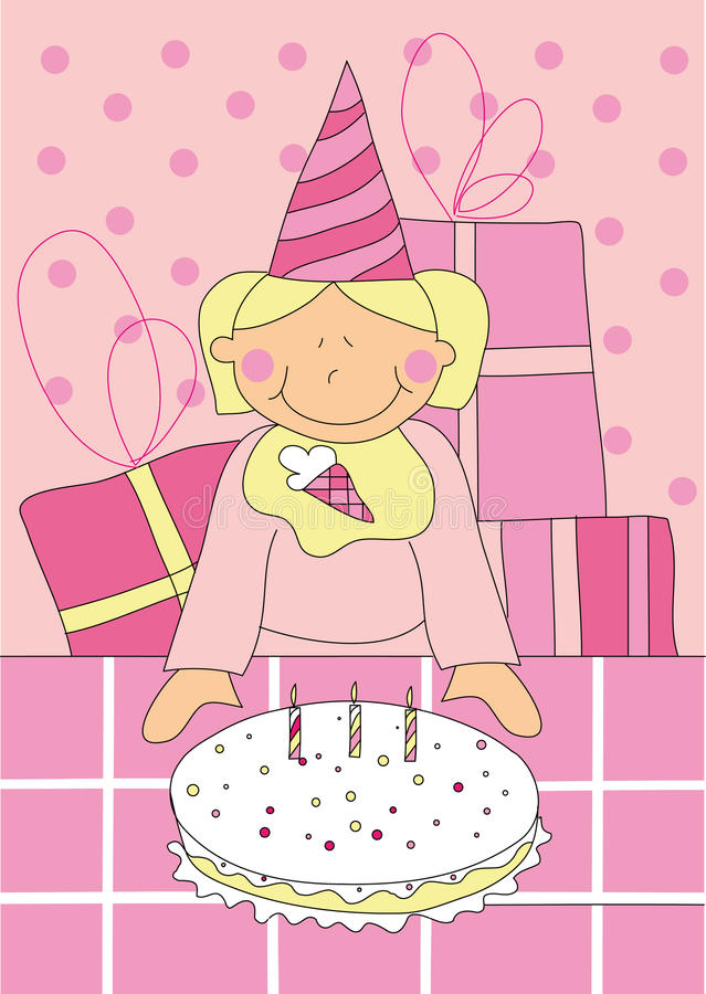 Little girl with birthday cake stock illustration