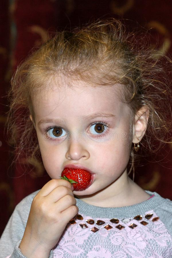 Little girl bites juicy strawberries close-up royalty free stock image