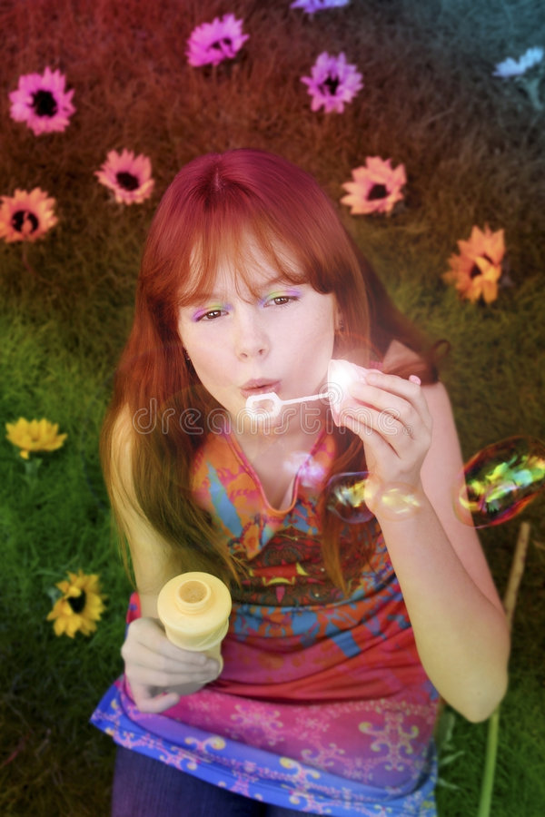 Download Little Girl Blowing Bubbles Stock Image - Image of green, playing: 6798009