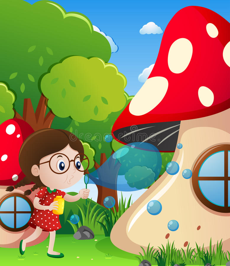 Little girl blowing bubbles in park stock illustration