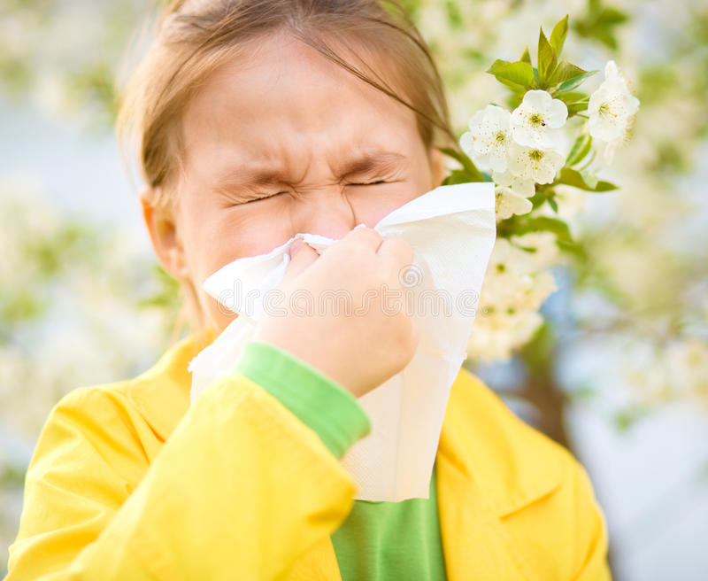 Little girl is blowing her nose. Near spring tree in bloom stock photography