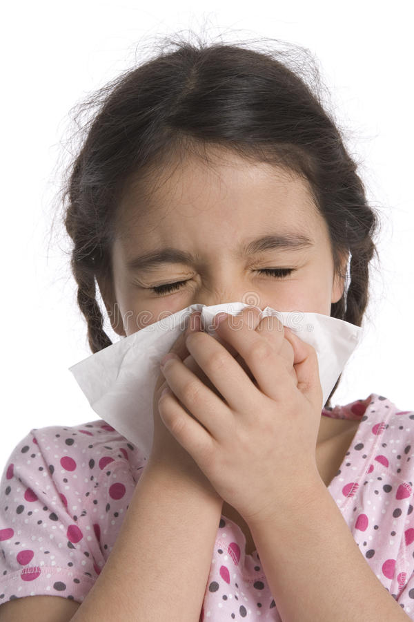 Download Little girl blows her nose stock image. Image of sensitive - 11273221
