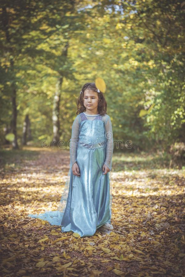 Little fashionable girl. Little girl in blue dress posing in the woods,selective focus stock images