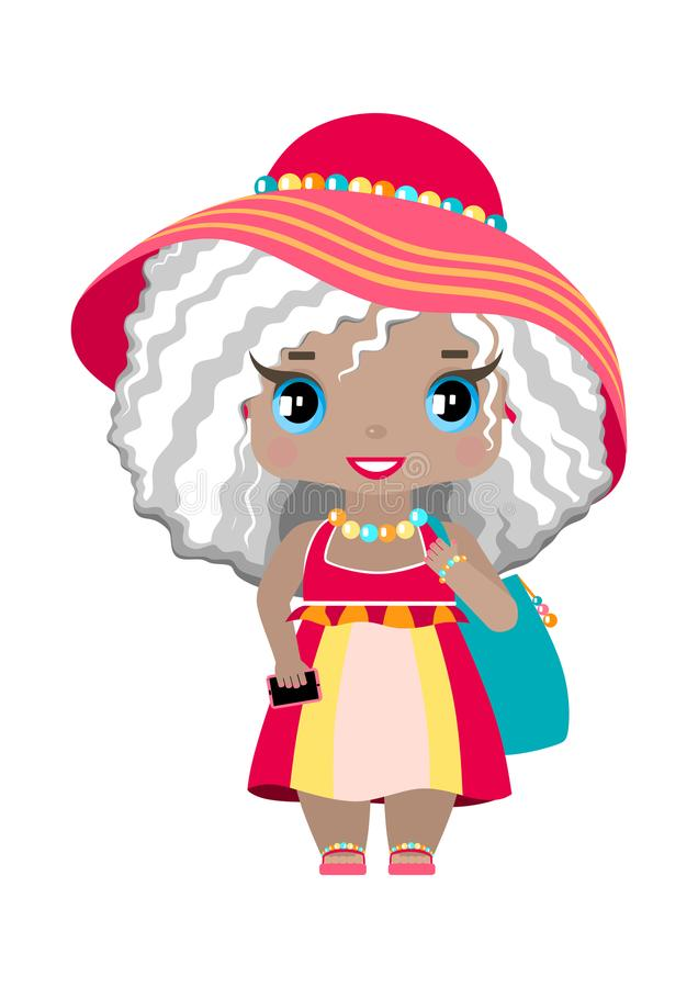 Little girl with blue eyes and wavy ash-blond hair in pink beach dress. Sundress, hat, beach bag and phone stock illustration