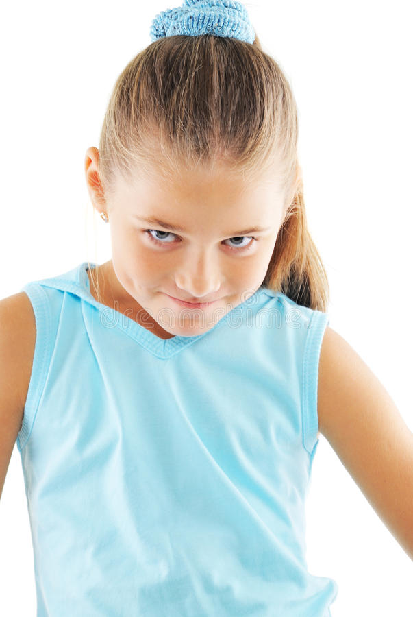 Little girl in blue sportswear. On white background stock image