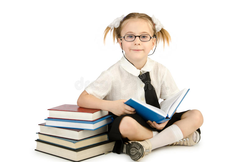 Download Little girl with books stock photo. Image of childhood - 26272214