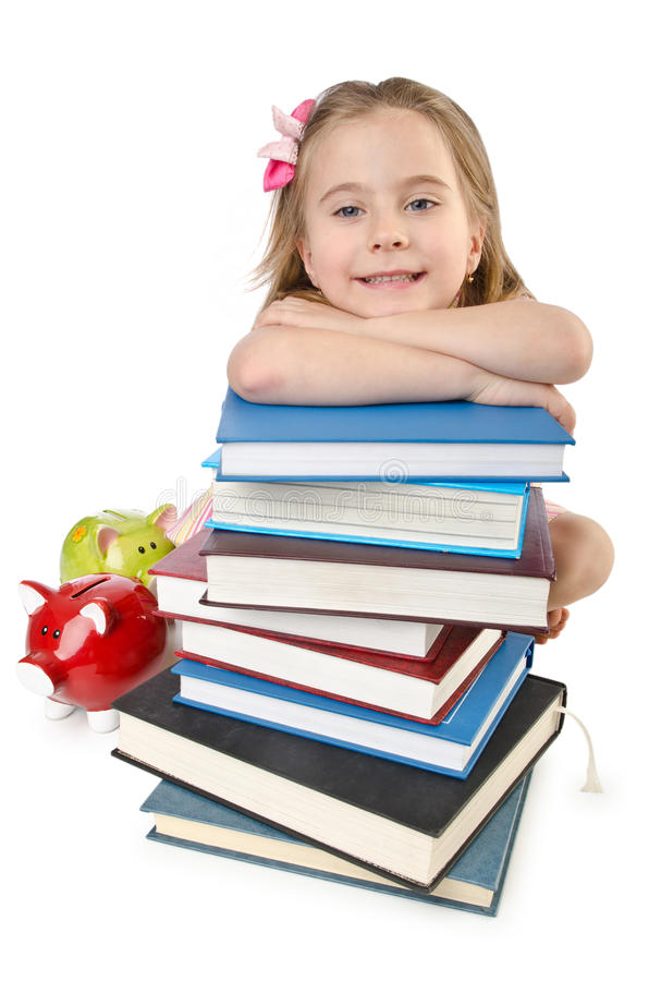 Download Little girl with books stock photo. Image of girl, piggy - 26630256