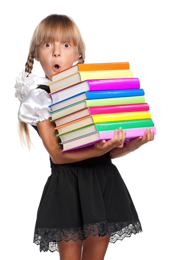 Download Little girl with books stock photo. Image of back, childhood - 26841646