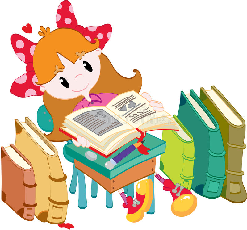 Download Little girl with books stock vector. Image of happy, learning - 31317250