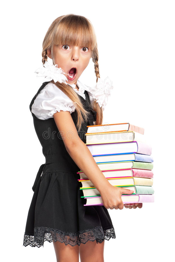 Little Girl With Books Stock Image