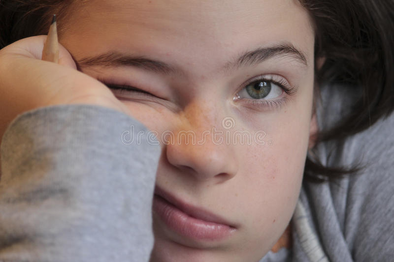 Little girl with a bored expression stock photography