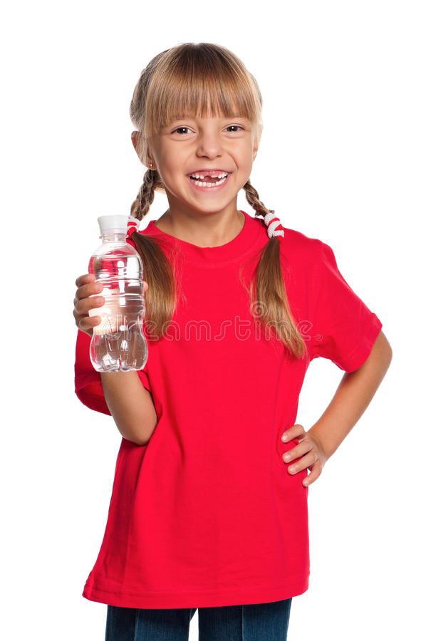 Download Little Girl With Bottle Of Water Royalty Free Stock Photography - Image: 27015087