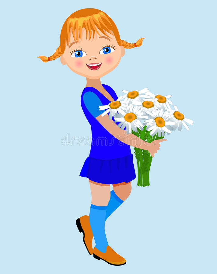Little girl with a bouquet of camomile. Little girl holding a large bouquet of camomile royalty free illustration