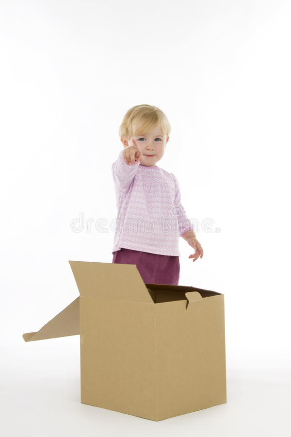 Little girl with box. Little girl with box, on white background royalty free stock photo