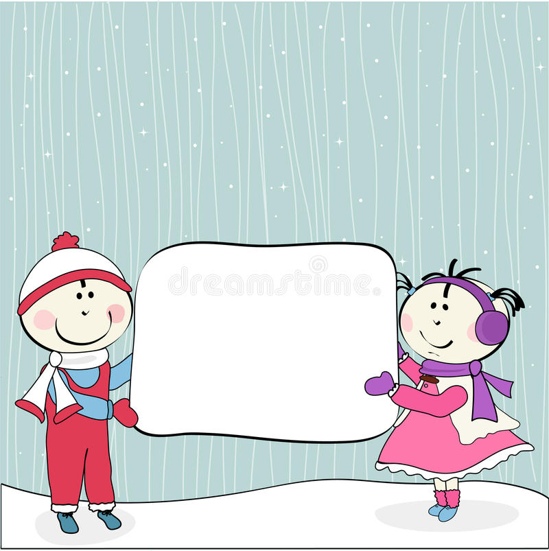 Download Little Girl, Boy And Billboard Stock Vector - Image: 22189806