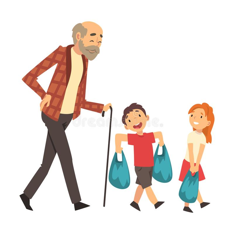 Children help grandfather bring packages cartoon vector illustration. Little girl and boy help grandfather bring shopping bags cartoon vector illustration vector illustration