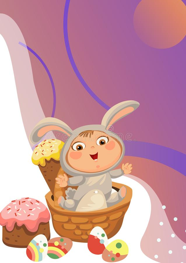 Little girl or boy hunting decorative chocolate egg, happy baby sit in a basket, easter bunny costume with ears and tail stock image