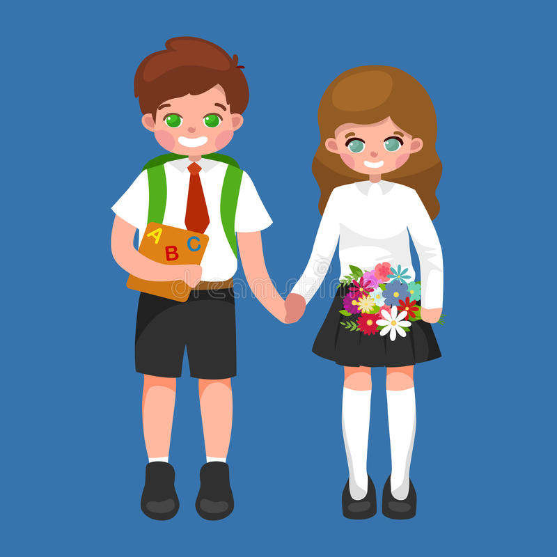 Little girl and boy with school backpack and books, back to school concept vector illustration