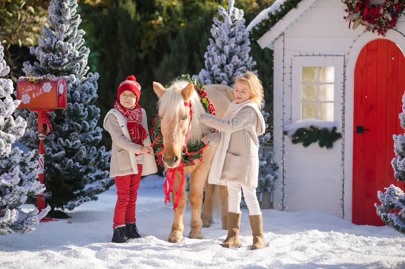 Little girl and boy wearing cozy clothes and adorable pony with festive wreath near the small wooden house and snow-covered trees. stock photo