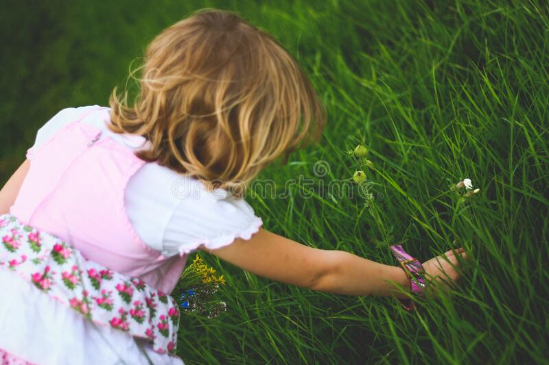 Little Girl Breaks The Flowers Free Public Domain Cc0 Image
