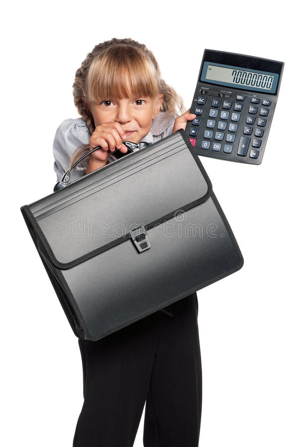 Download Little girl with briefcase stock image. Image of beginner - 28930831