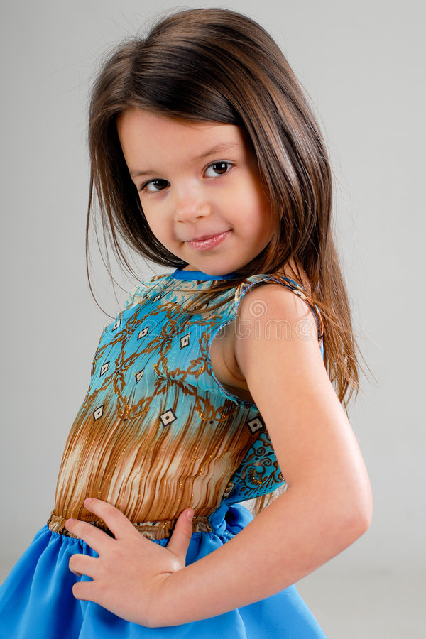 Little girl with brown hair royalty free stock image