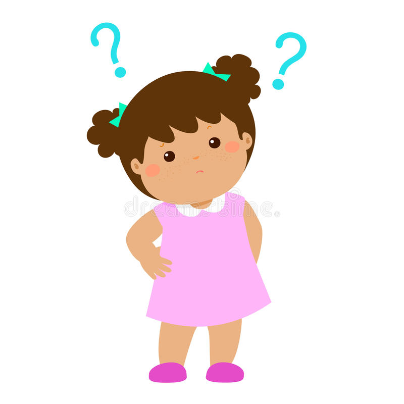 Little girl brown skin wondering cartoon character stock illustration