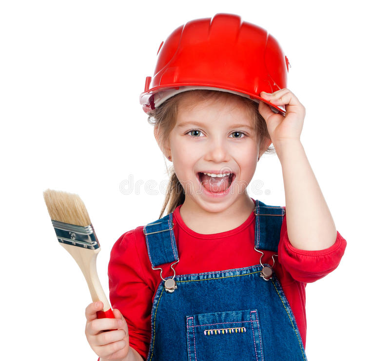 Little girl with a brush royalty free stock images
