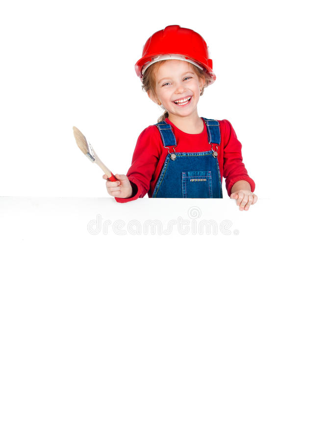 Little girl with a brush and white banner. Pretty little girl with a brush and white banner stock photography